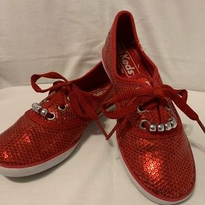 Keds Champion red sequin shoes size 1
